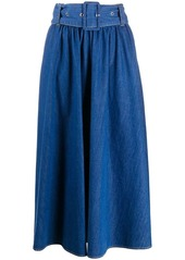 MSGM A-line denim midi skirt