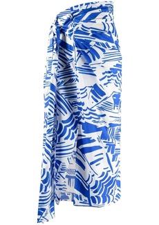 MSGM abstract-print draped skirt