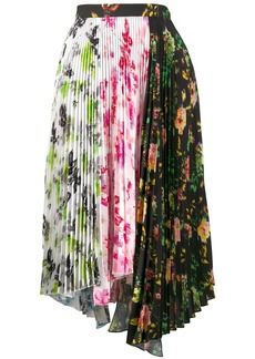 MSGM asymmetric floral print pleated skirt