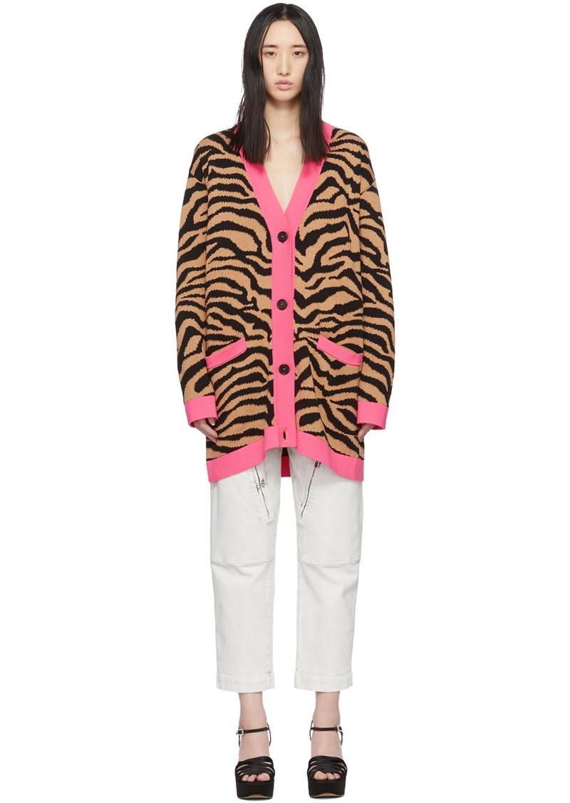 MSGM Beige & Black Tiger Cardigan