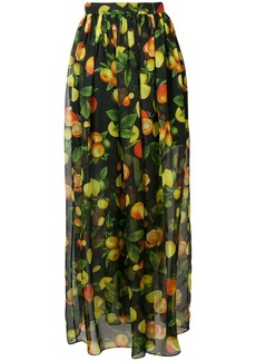MSGM botanical print high waisted skirt