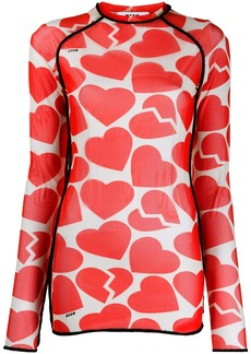 MSGM broken heart print long-sleeve top