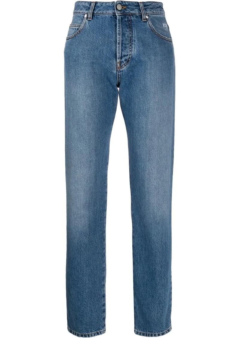 MSGM broken-heart straight leg jeans