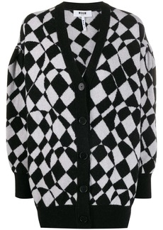 MSGM checkered knitted cardigan