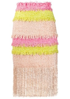 MSGM colour block fringed tweed skirt