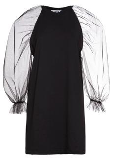 MSGM Cotton Mini Dress W/ Organza Sleeves