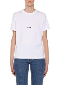 MSGM Crewneck Short-Sleeve Cotton Logo T-Shirt