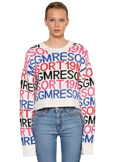 MSGM Cropped Intarsia Cotton Blend Sweater