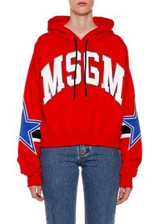 MSGM Cropped Logo Hooded Pullover Sweatshirt