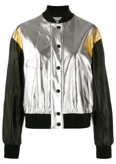 MSGM cropped metallic finish bomber jacket