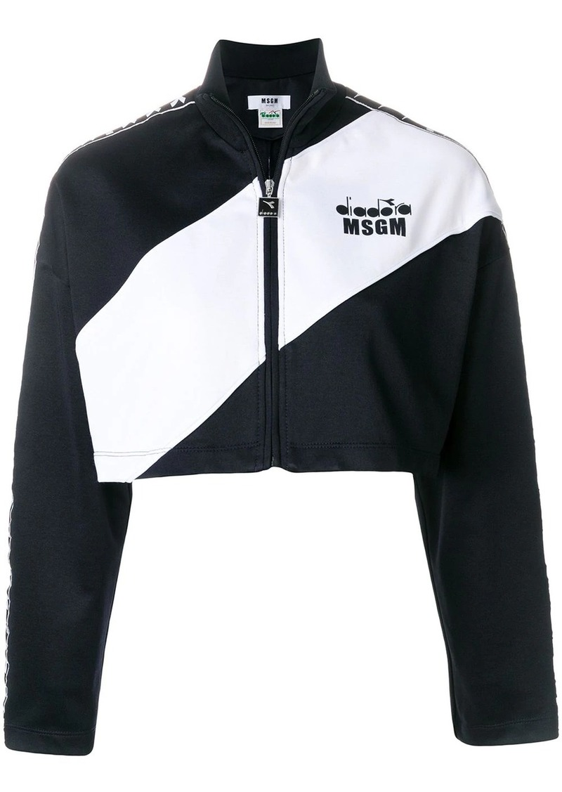 MSGM cropped two-tone jacket
