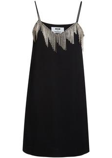 MSGM Crystal Embellished Crepe Mini Dress