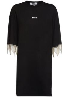 MSGM Crystal Embellished Jersey Mini Dress