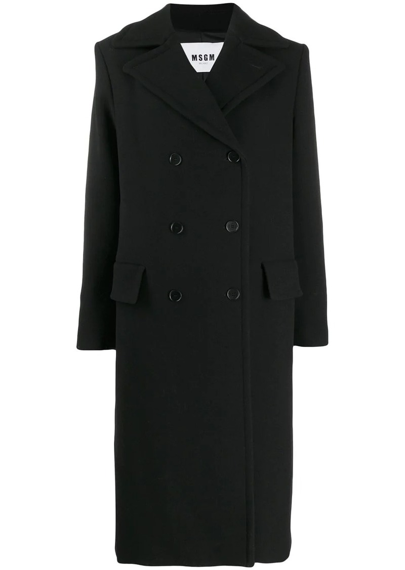 MSGM double-breasted draped-neck coat