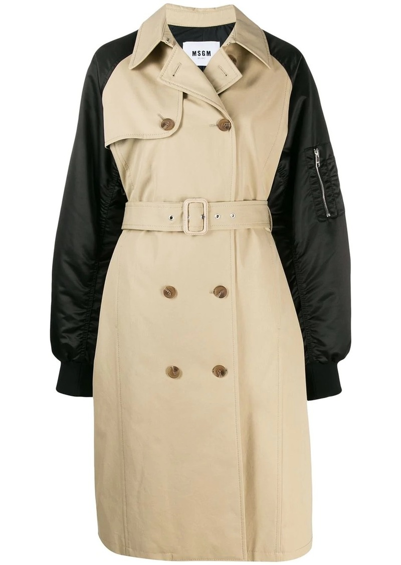 MSGM double-breasted trench coat with bomber sleeves