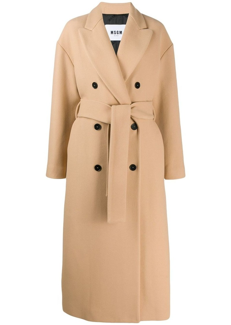 MSGM double-breasted virgin wool trench coat