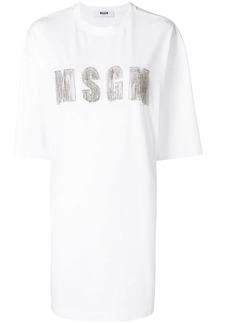 MSGM embellished logo T-shirt dress