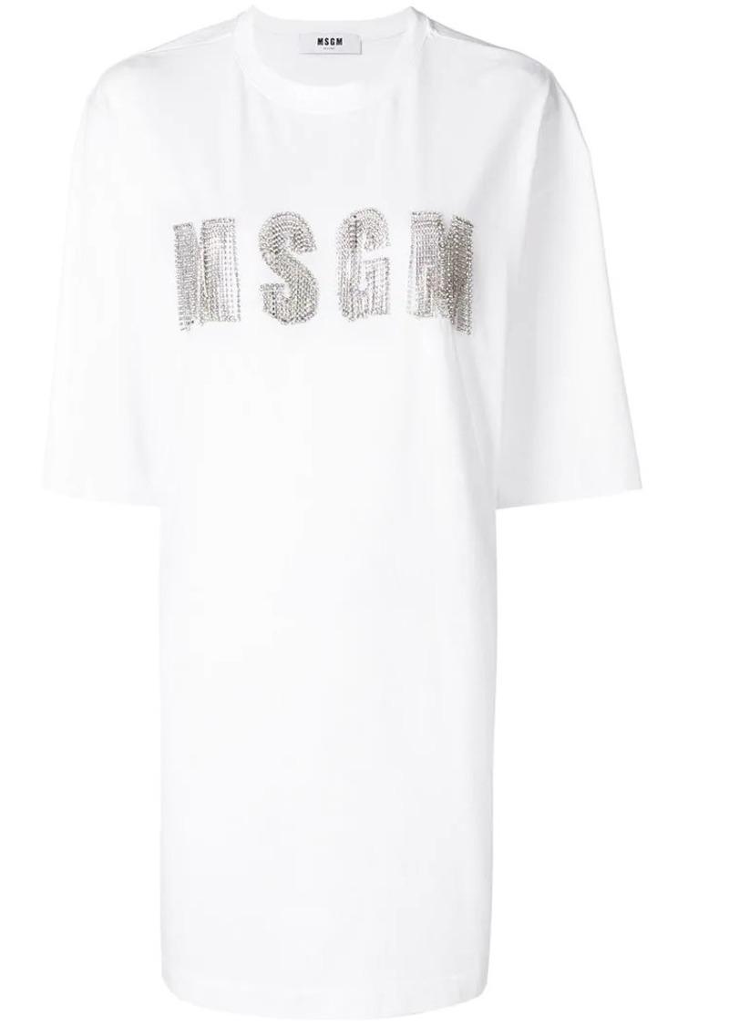 9a007316cbdfb7 SALE! MSGM embellished logo T-shirt dress