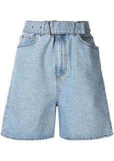 MSGM embroidered denim shorts