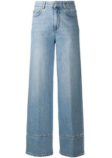 MSGM embroidered logo wide-leg jeans