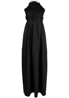 MSGM embroidered tie-fastening gown