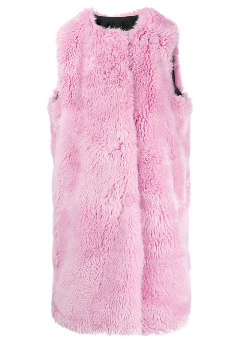 MSGM faux fur long gilet