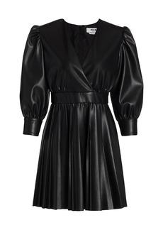 MSGM Faux Leather Puff-Sleeve Mini A-Line Dress