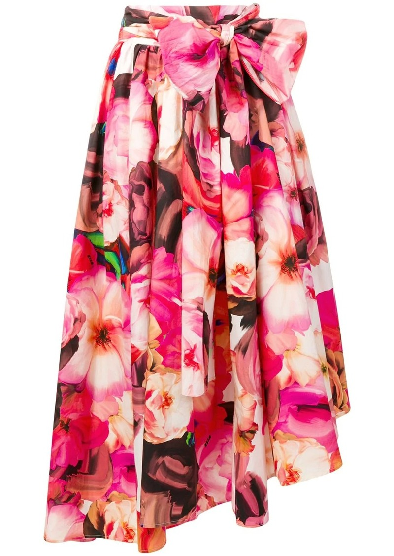 MSGM flared floral print skirt