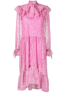 MSGM floral jacquard midi dress