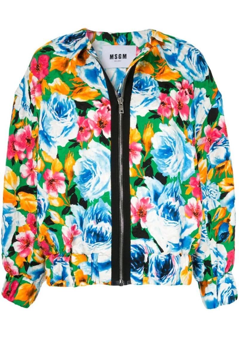 MSGM floral pattern bomber jacket