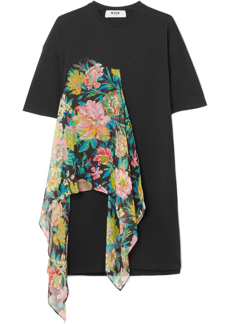 MSGM Floral-print chiffon and cotton-jersey dress