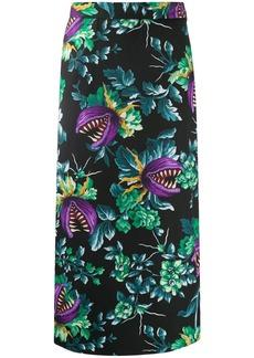 MSGM floral print cotton pencil skirt