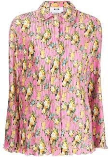 MSGM floral print pleated shirt