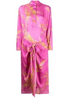 MSGM floral print tie-fastening midi dress