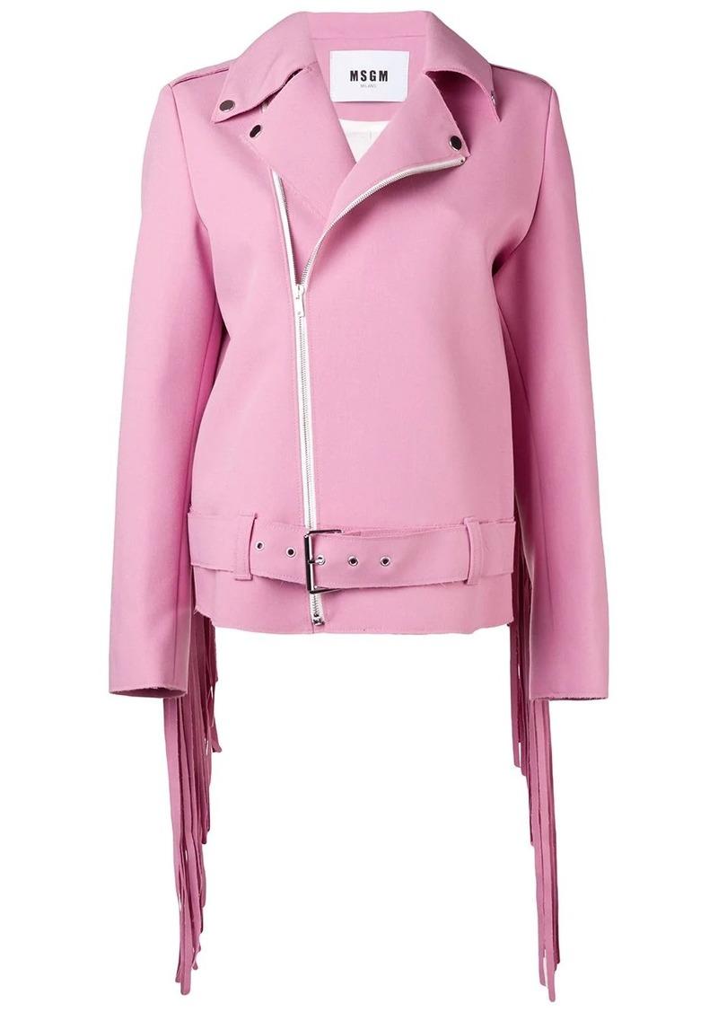 MSGM fringe biker jacket
