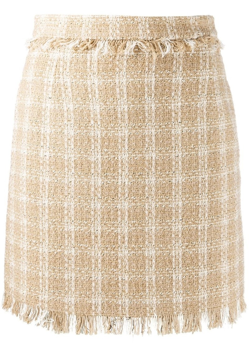 MSGM fringed check skirt
