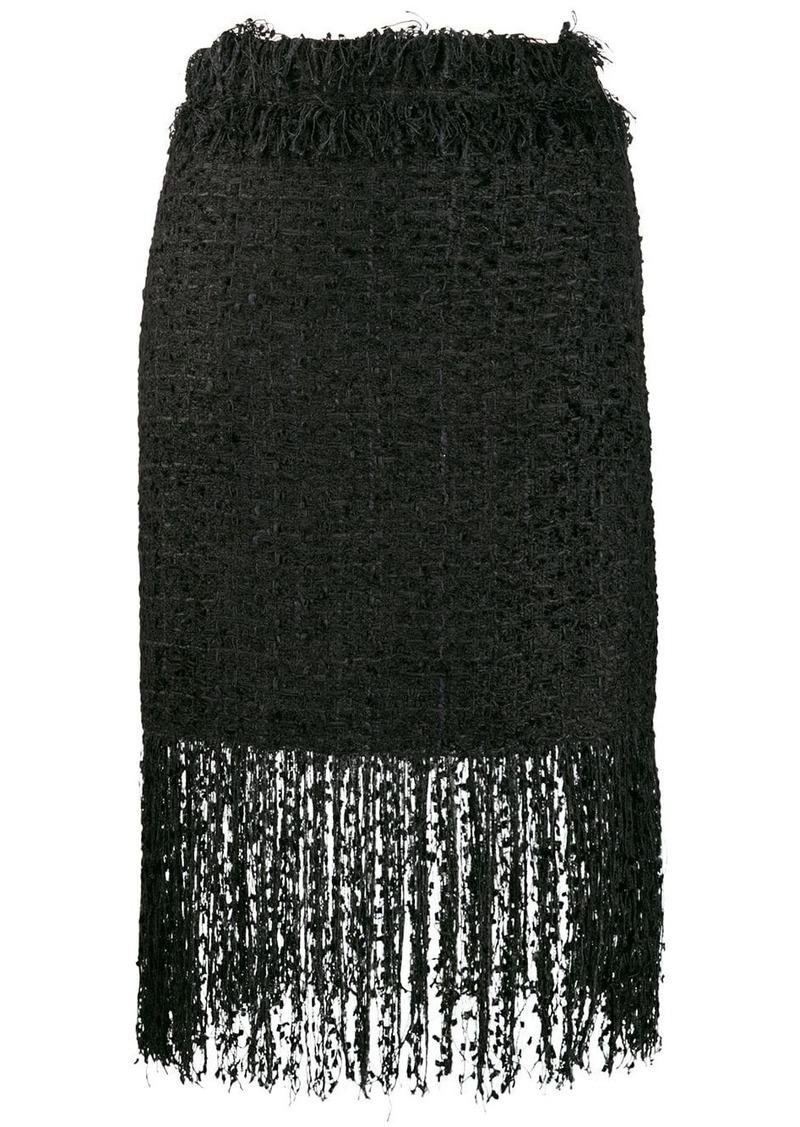 MSGM fringed tweed skirt