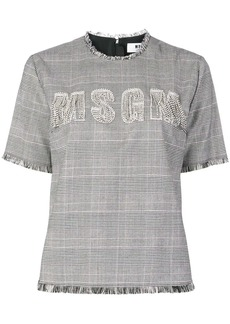 MSGM front embellished logo blouse s