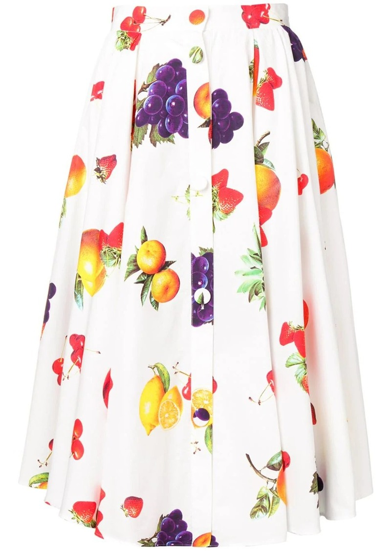 MSGM fruit print midi skirt
