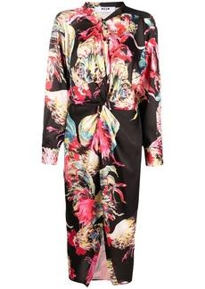 MSGM gathered rooster-print midi dress