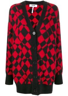 MSGM geometric-pattern knitted cardigan