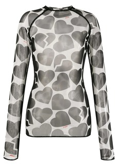 MSGM hearts print sheer top