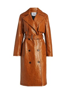 MSGM Honey Faux Leather Trench Coat
