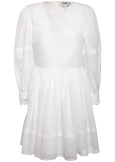 MSGM Lace Embellished Muslin Mini Dress