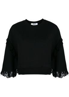 MSGM lace trim sweatshirt