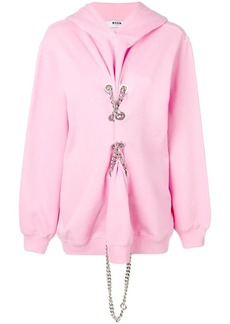 MSGM lace-up chain hoodie