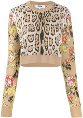 MSGM leopard print cropped sweater