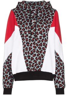 MSGM leopard-print panelled hoodie