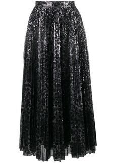 MSGM leopard print pleated skirt