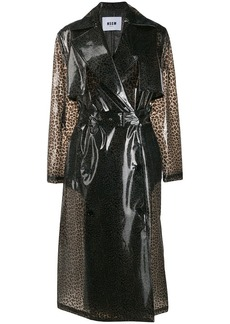 MSGM leopard print trench coat
